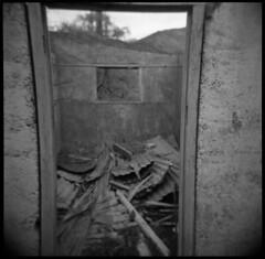 Door / Kawaru Gorge / New Zealand (Matthew McCutcheon) Tags: newzealand blackandwhite bw 6x6 film matt holga lomo lomography matthew epson quintin 120mm bwf v700 mccutcheon 120gn lomonz