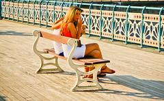 Penarth Peach (Lilla~Rose) Tags: uk girls sea summer vacation woman sun sunlight sexy feet beach girl beauty wales lady digital canon fence bench hair eos rebel pier seaside holidays afternoon shadows legs image sandals candid cymru longhair peach sunny september icecream glamorgan welsh brunette sunlit penarth ices whiteskirt penarthpier 550d victorianpier t2i