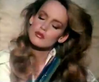 1984 Fashion model Jerry Hall, Flex Shampoo Ad model