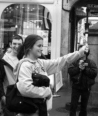 getting ready for the Olympics (byronv2) Tags: blackandwhite bw woman girl monochrome scotland blackwhite edinburgh torch royalmile performer oldtown