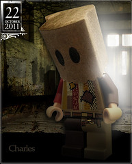 October 22 - Charles (Morgan190) Tags: brown halloween bag paper scary october advent calendar lego mask charles creepy hidden cover hood torn fixed minifig minifigs patch patchwork custom hiding paperbag m19 minifigure ashamed brownbag shamed mended 2011 morgan19 morgan190