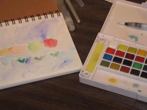 watercolors pen doodle