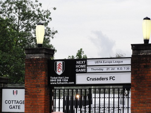 Outside the ground at Fulham vs Crusaders FC