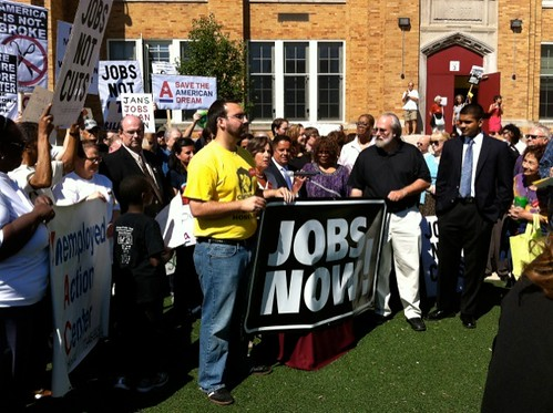 A huge crowd of protestors assembled in Chicago to demand jobs, not cuts from Congress