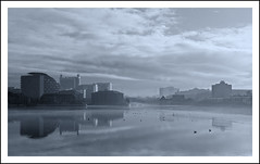 Dreamed a Dream by the Old Canal (Paul Heskes) Tags: blackandwhite bw mist ice salfordquays salford thebeast manchestershipcanal mistymorning reflectionsinwater inlandwaterway traffordpark exchangequay southbasin nikon2870mm bluetoning nikond700 thebigditch colourtoning samuelplatts traffordroadswingbridge manchestershipcanalfrozen gullsonwater iceandmistonwater salfordquaysinwinter