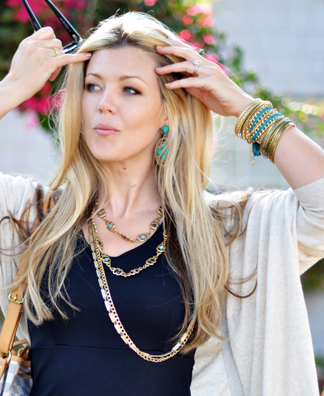 turquoise and  brass  and gold vintage and new jewelry chains and bangles