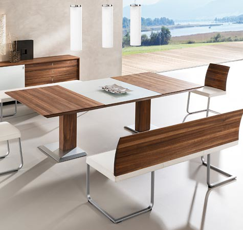 Walnut Dining Tables Table With Glass Extension Leaf