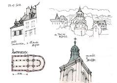 12 Bozouls, 63 Montpeyroux, 58 Decize (gerard michel) Tags: france sketch croquis
