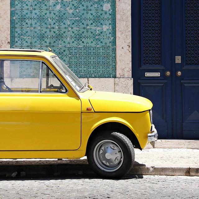 my yellow car in Lisboa