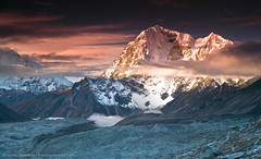 Fire and Ice (Taboche 6367 m) (Anton Jankovoy (www.jankovoy.com)) Tags: nepal peak glacier morena mountaintop  sunsire