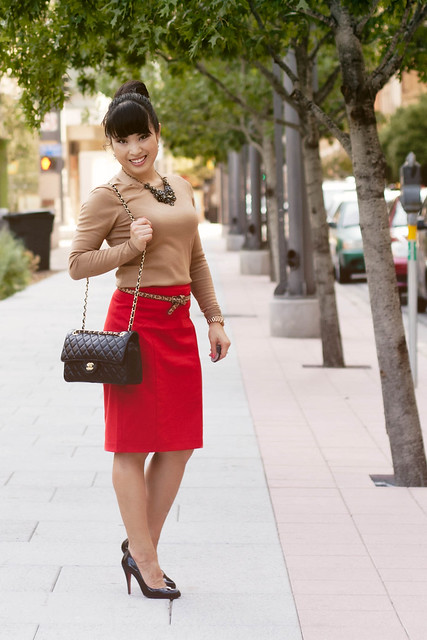 ann taylor camel knit, the limited red pencil skirt, forever 21 leopard skinny belt, louboutin decollete black patent pumps, mk5430, chanel black quilted lambskin m/l flap purse
