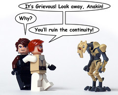 Avoiding Confrontation (Oky - Space Ranger) Tags: star funny lego general obi continuity anakin wars wan clone skywalker kenobi avoidance confrontation grievous