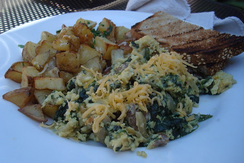 Steak, Cheddar, Spinach and Caramelized Onion Scramble at Axis Cafe