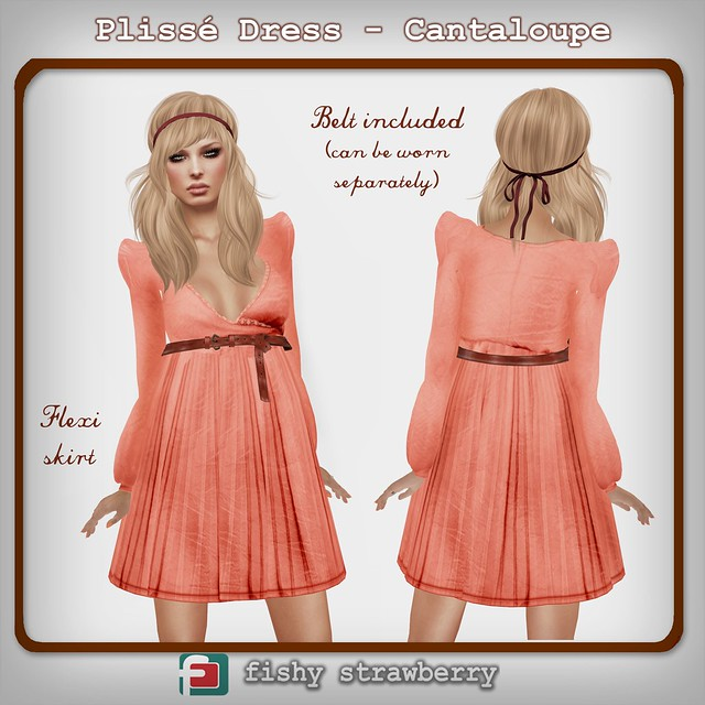 Fashionably Late: Plissé Dress - Cantaloupe
