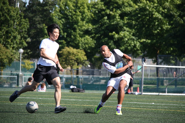 inlingua Vancouver students and staff playing soccer