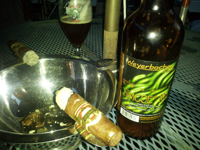 Weyerbacher Double Simcoe IPA and Ashton VSG Cigars