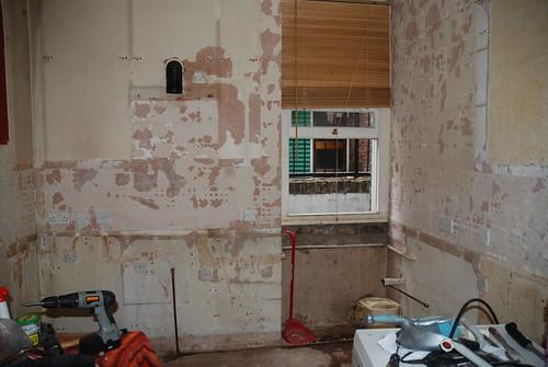 sad, stripped kitchen