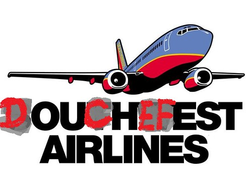"The Southwest Airlines logo (a blue and red cartoon of a plane) with ""SOUTHWEST AIRLINES"" under it in black, but with red, graffiti-like letters changing to say ""DOUCHEFEST AIRLINES""."