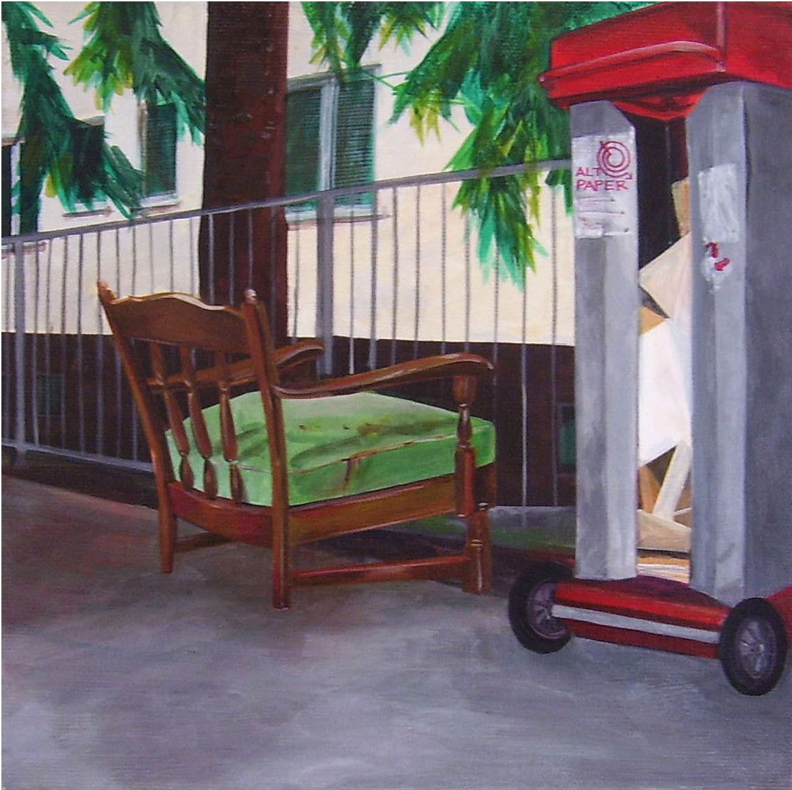 Green Chair,  Acrylic on Canvas, 31cm x 31cm by Robin Clare