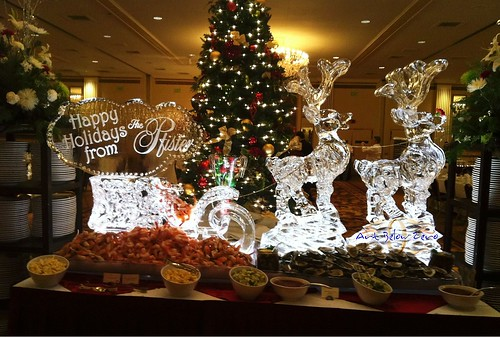 Sleigh and Reindeer Holiday Display Ice Sculpture