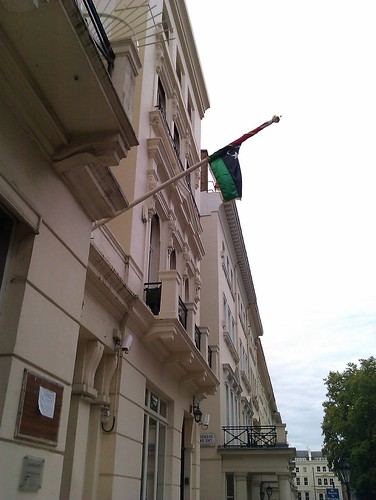 Libyan embassy flies the rebellion flag