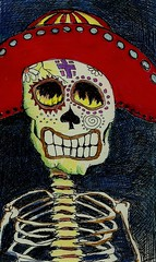 Day of the Dead Skull 1 (tex norman Folk Artist) Tags: ink dayofthedead drawing diadelosmuertos highlighters coloredpencils digitalmanipulation texnorman
