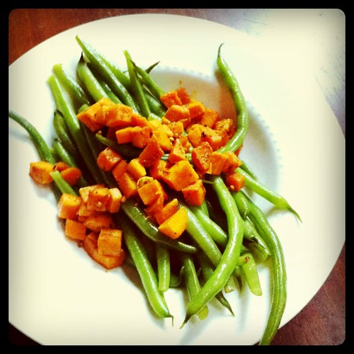Curried sweet potatoes & green beans