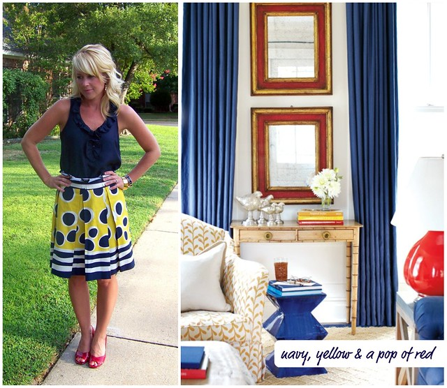 navy yellow red collage