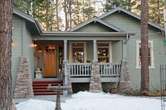 Arts and Crafts Green (Behr Paint) Tags: brown green architecture paint exterior stonework rustic gray walls residential behr neutral artsandcraftshouse mountainhome craftsmanstyle woodsiding exteriorpaint homeexterior premiumplus coveredfrontporch architecturalpaint