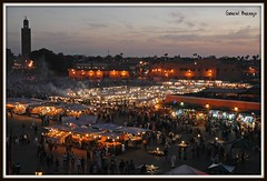 Djemaa el Fnaa Night - Marrakech (Gabriel Bermejo Muoz) Tags: africa lighting plaza travel light red color heritage luz night square noche rojo colours place market smoke muslim islam scene unesco arabic mercado exotic morocco maroc arabe nocturna marrakech maghreb souk medina marketplace marr