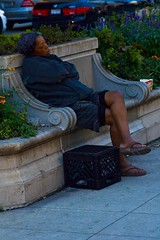 Homeless Woman Sleeping on Cement Bench IMG_7284 (www.cemillerphotography.com) Tags: poverty broken want need broke destitute itinerant bankrupt starving pauper indigent penniless insolvency privation