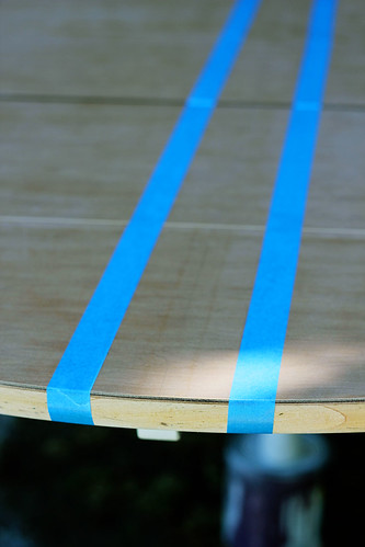 Tape off the wood stripes