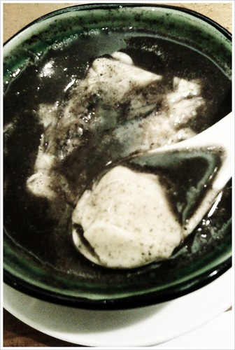 2 desserts I love, combined into 1.  Black sesame dessert soup with tofu-fa, a slippery and silky tofu that resembles the texture of pudding.
