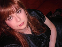 blue satin dress  redhead(49) (Jenni Makepeace) Tags: blue stockings tv dress dressing redhead tgirl transvestite service satin crossdresser shemale sophies pvcjenni sophiesdressingservice jennimakepeace