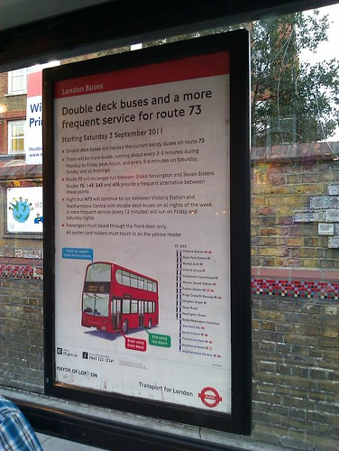 Poster announcing changes on route 73