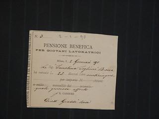 Ricevuta del versamento in faovre della Pensione benefica per giovani lavoratrici, 1890, ALPE, Testatori, Foglieni Faustina vedova Brocca