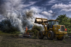 The Town Cleans Up After Irene (Frank C. Grace (Trig Photography)) Tags: ma fire town aftermath raw massachusetts branches flames newengland cleanup burn dozer twigs hdr deere publicworks pseudo mainroad photomatix acushnet tonemapped hurricaneirene recyclecenter pentaxart trigphotography frankcgrace