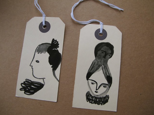 gouache portraits on tags