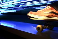 Skateboard at Night (sleepyhead's) Tags: blue light blur night speed skating motionblur skate skateboard skateboardatnight