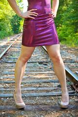 Shiny | Shimmery (Dan | Hacker | Photography) Tags: model highheels durham dress lipstick americanapparel tight sunlit seductive carthage patentleather platforms alluring railroadtracks pinklips nars nudeheels shinytankpencildress mauvedots