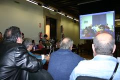 En el transcurso de la video-conferencia mostrando la pantalla donde aparecen los residentes de Bujalance