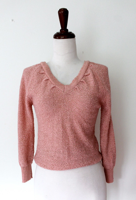 Metallic Blush V neck Sweater, vintage 80s
