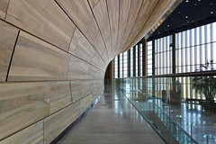 Inside the Palace of Arts 23 (Romeodesign) Tags: wood glass lines architecture reflections hungary arch geometry interior balcony budapest perspective arts palace 550d palaceofarts palotja mpa mvszetek gettyhungary1