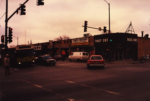 The intersection of West 111th Street and South Kedzie Avenue in Chicago's mount Greenwood neighborhood.  Chicago Illinois USA. February 1986. by Eddie from Chicago