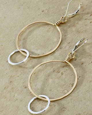 Sweet Halo silver and gold earrings