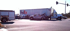 FedEx truck vs cars Menlo Park (Richard Masoner / Cyclelicious) Tags: bridge truck big crash accident rig dumbarton eastpaloalto bikebyshooting menlopark collision