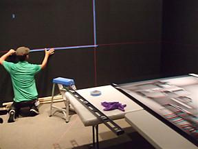 Art Handler installing Maya Zack's Living Room