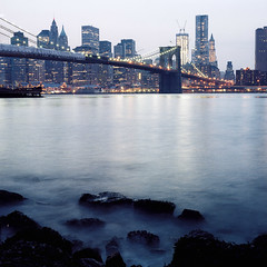 Brooklyn Bridge (foldablechair) Tags: new york city nyc bridge 120 6x6 film water brooklyn zeiss t rocks c cm hasselblad carl pro fujifilm medium format 500 f28 planar 80mm 400h