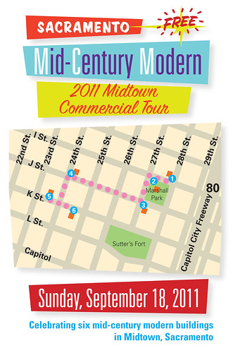 Free SacMod walking tour unveiling on September 18, 2011! But you can take this walking tour any time.
