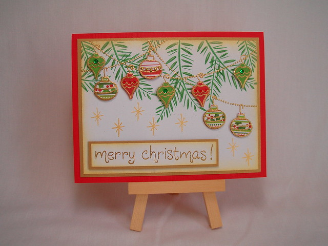 Christmas card with Cute Ornaments!